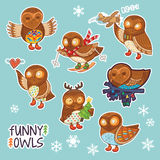 Collection of stickers with funny cartoon owls Royalty Free Stock Photo