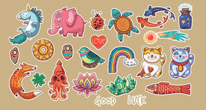Collection of stickers with lucky symbols Royalty Free Stock Photos