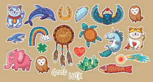 Collection of stickers with lucky symbols Stock Images