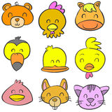 Collection stock animal head colorful doodles Royalty Free Stock Photo