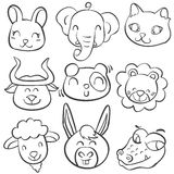 Collection stock of animal head doodles Royalty Free Stock Photo