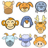 Collection stock animal head funny doodle style Stock Photo