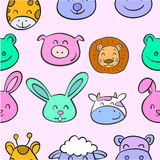 Collection stock animal head various doodles Royalty Free Stock Images