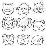 Collection stock cute animal doodles Royalty Free Stock Photography
