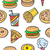 Collection stock of fast food style doodles Royalty Free Stock Photos