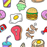Collection stock of food delicious doodles Royalty Free Stock Photography
