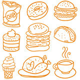 Collection stock of food element doodles. Vector art Royalty Free Stock Photos