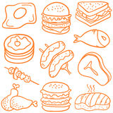Collection stock of food various doodles Royalty Free Stock Images