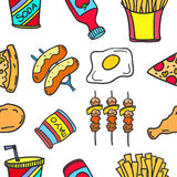 Collection stock of food various doodles Royalty Free Stock Photography