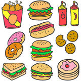 Collection stock food various of doodles Stock Images