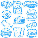Collection stock of food various doodles. Vector illustration Stock Image