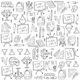 Collection stock many object school doodles. Illustration Stock Image