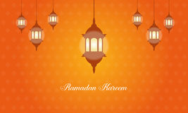 Collection stock of Ramadan Kareem with latern. Vector art Royalty Free Stock Photo