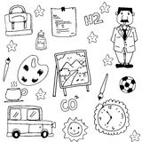 Collection stock school doodles. Vector art illustration Royalty Free Stock Images