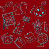 Collection stock school doodles vector. On red backgrounds Royalty Free Stock Photos