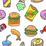 Collection stock of various food doodles Stock Photography