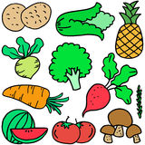 Collection stock of vegetable object doodles Royalty Free Stock Images