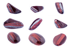 Collection of stone mineral Bull`s Eye Red Tiger`s Eye Royalty Free Stock Images
