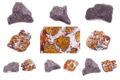 Collection of stone mineral Chalcopyrite Royalty Free Stock Images