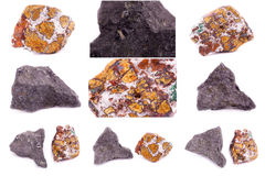 Collection of stone mineral Chalcopyrite Royalty Free Stock Photography