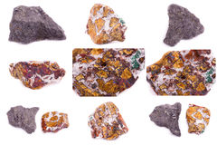 Collection of stone mineral Chalcopyrite Stock Images