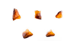 Collection of stone mineral Fire Opal. Close up royalty free stock image