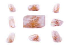 Collection of stone mineral Rutile in quartz royalty free stock image