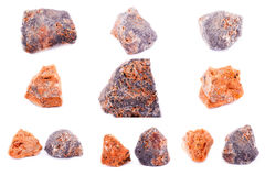 Collection of stone mineral sphalerite Royalty Free Stock Photos