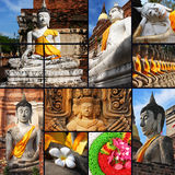 Collection of Stone statue Buddha in Thailand. Background template for design work Royalty Free Stock Photo