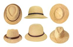 Collection of straw hats Stock Photos