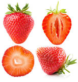 Collection of strawberries isolated on the white background Royalty Free Stock Photos