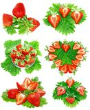 Collection of strawberries on white. Isolated Royalty Free Stock Photos