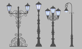 Collection  street lamps,  gray background. Figured forged street lights. Vector design classic lamps. Set street decorative forging blue light Royalty Free Stock Images