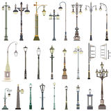 Collection of street lamps. Vector collection of street lamps Royalty Free Stock Images