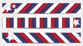 Collection of 3 striped banners in official colors of USA Royalty Free Stock Photo