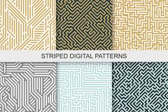 Collection of striped seamless geometric patterns. Colorful texture. Digital background Royalty Free Stock Images