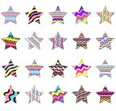 Collection of striped stars painted in rainbow colors isolated on white background royalty free illustration