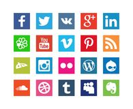 Collection of Style Social Media Icons. For Internet Site isolated on white background Stock Photo