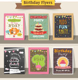 Collection of stylish birthday party flyers. Royalty Free Stock Photo
