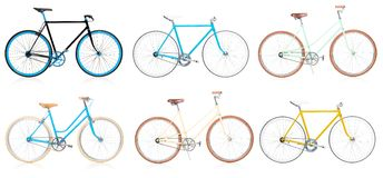 Collection of stylish colorful hipsters bicycle isolated on whit Stock Image