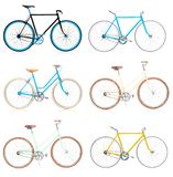 Collection of stylish colorful hipsters bicycle isolated on whit Royalty Free Stock Image