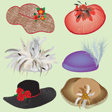 Collection of stylish hats for woman Royalty Free Stock Photo