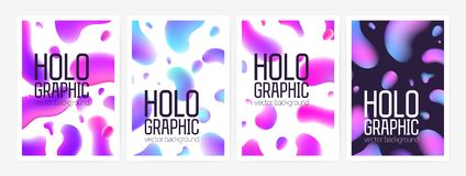 Collection of stylish holographic backgrounds or backdrops with abstract shapes or gradient colored rounded stains and. Place for text. Colorful vector vector illustration