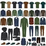 A collection of stylish men`s clothing Royalty Free Stock Photos