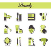 A collection of stylish modern flat sticker icons with pattern coloring for beuty, cosmetics and spa. For web Royalty Free Stock Photography