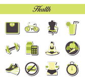A collection of stylish modern flat sticker icons with pattern coloring for healthy lifestyle, diet and fitness. For web, presenta Royalty Free Stock Photos