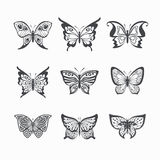Collection of stylized butterflies Royalty Free Stock Photos
