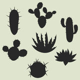 Collection of stylized cactuses and plants Royalty Free Stock Image