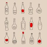 Collection of stylized hand-drawn spirits for design. Collection of a stylized hand-drawn spirits for design Stock Image