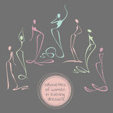 Collection of stylized silhouettes of women in long evening dresses. Can be used as element of the logo. Vector illustration in outline style Stock Photography